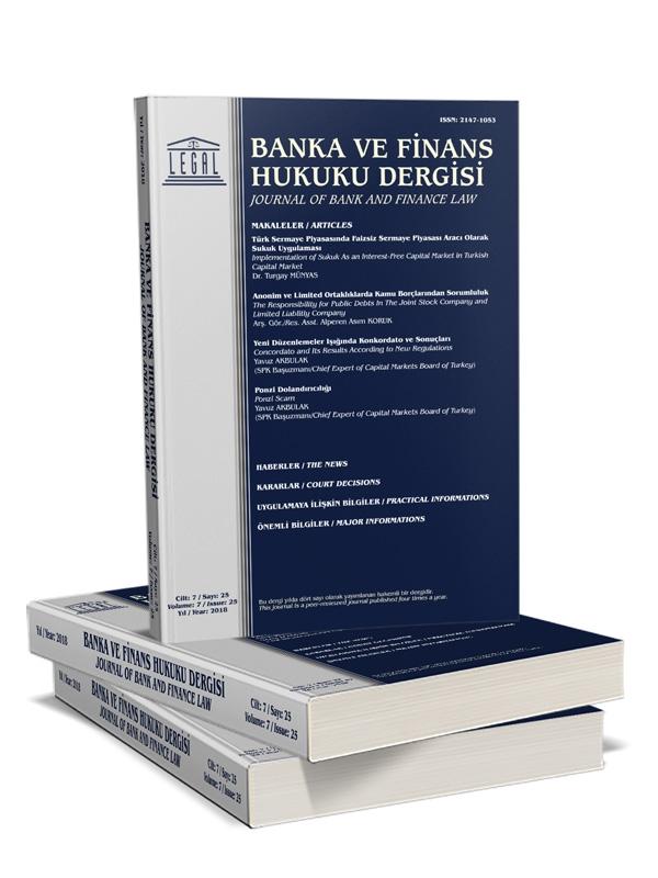 BANKA VE FİNANS HUKUKU DERGİSİ